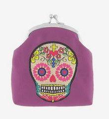Sugar Skull Embroidered Change Purse