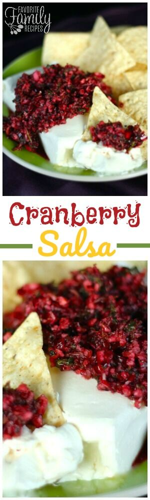 This Cranberry Salsa is made with fresh ingredients and has an incredible sweet/tangy flavor. It is a beautiful appetizer for Christmas/Holiday parties. via @favfamilyrecipz