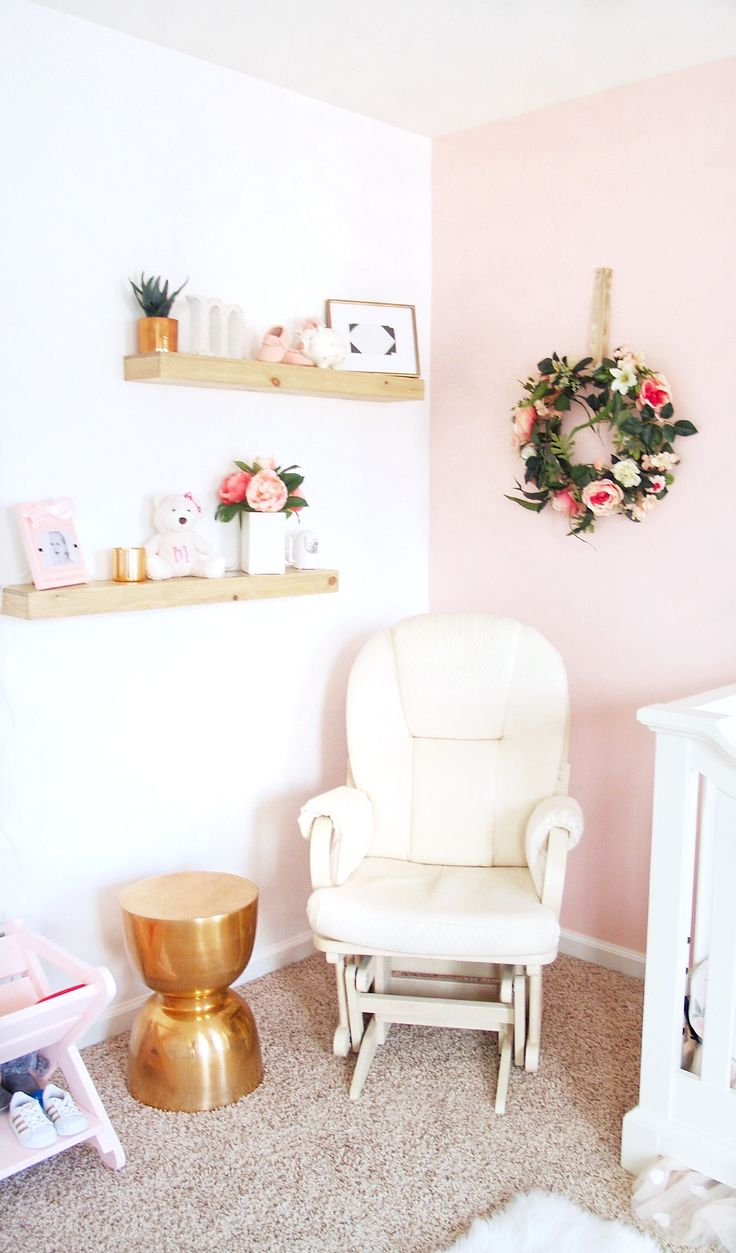 Love these raw wood shelves and the copper/rose gold side table- it went perfect with the other copper accents in the room and I love having this little corner in her room!
