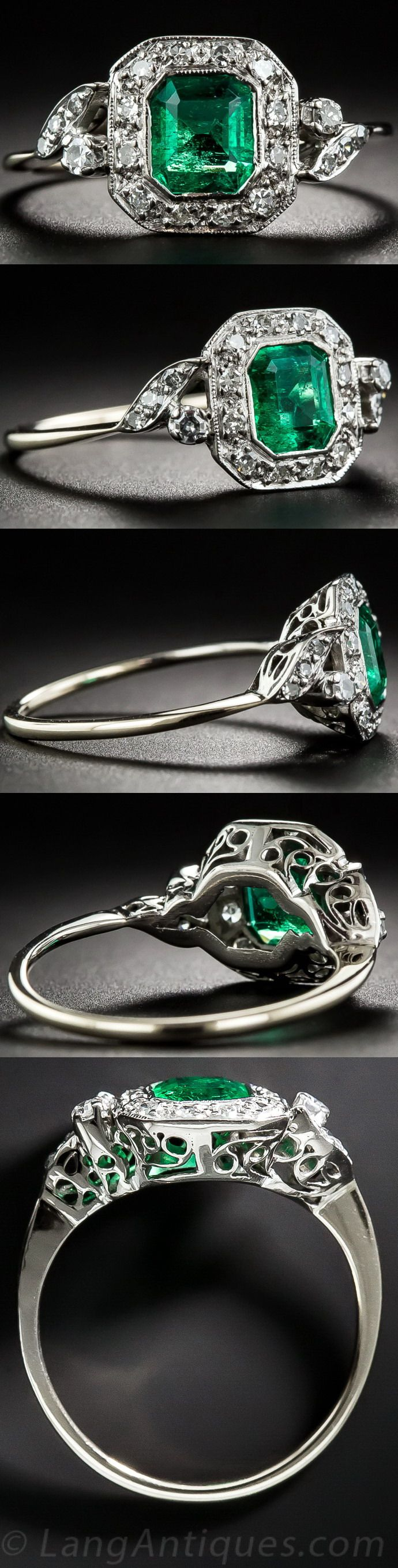Art Deco Emerald and Diamond Ring. A rich and radiant Colombian emerald, weighing .65 carat, beams from within a sparkling diamond frame bookended by diamond-set flares on each shoulder. This classic Art Deco beauty is finished with a lovely scroll work under gallery. Ring size 7 1/4.