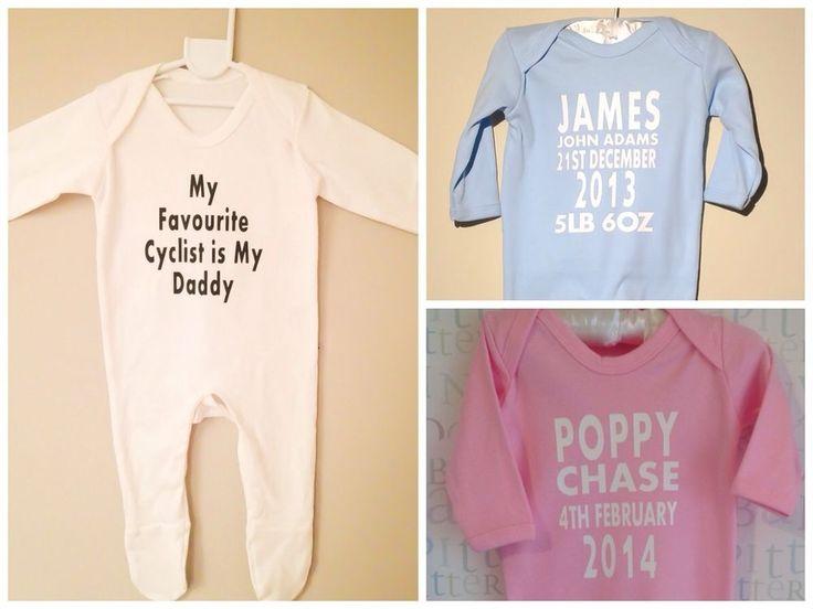 PERSONALISED baby clothing sleepsuit romper, keepsake, pink, blue or white