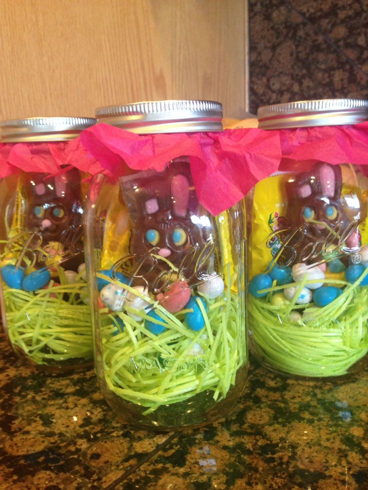 Easter Masson jar idea! Editable Easter grass. Some of their favorite candy and cash wrapped in plastic wrap!! For my adult kids!!