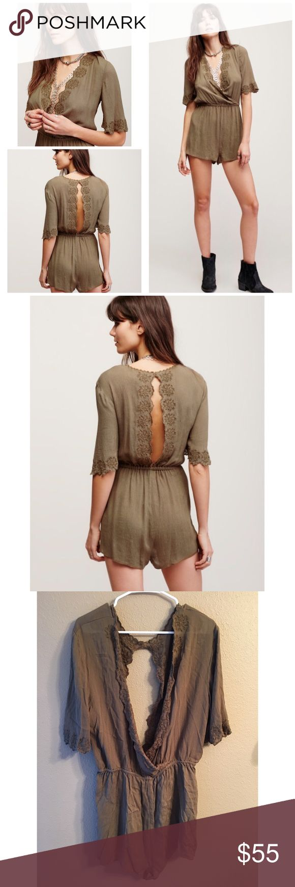 Zelma embroidered romper Pretty Moss color crinkly fabric romper. This lightweight romper features a plunging surplice V-neckline with tonal embroidery detailing and a scalloped trim. Elastic waistband for an easy fit. Front does not close, perfect to wear a bralette or bandeau under for a stylish accent! ✌🏻️  100% Rayon Hand Wash Cold. New with tags.runs like a 10-12. ❌no trades Free People Pants Jumpsuits & Rompers