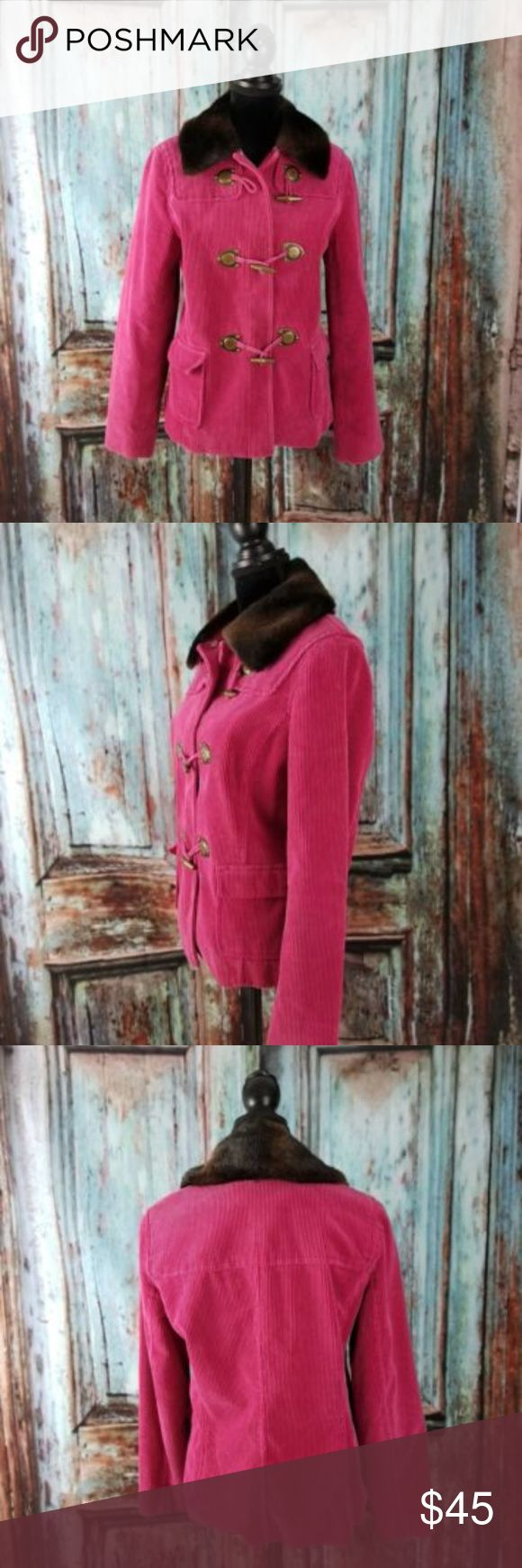 "Hot Pink Cord Pea coat detach Faux Fur Collar L Liz Claiborne Vintage Hot Pink Corduroy Jacket detachable Faux Fur Collar Sz Large Heavy and warm!   Bust 19.5"" Length from collar to hem 23.5"" Sleeve length 25"" Inseam 16"" Liz Claiborne Jackets & Coats Pea Coats"