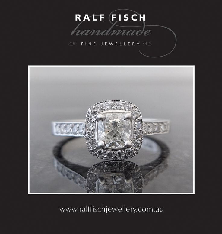 Grain Set Cluster www.ralffischjewellery.com.au 18ct white gold cluster style engagement ring with cushion cut centre diamond framed by grain set round brilliant cut diamonds. Whether they're claw set or grain set, round or square (or something in between), cluster style engagement rings remain a strong trend for early 2016!