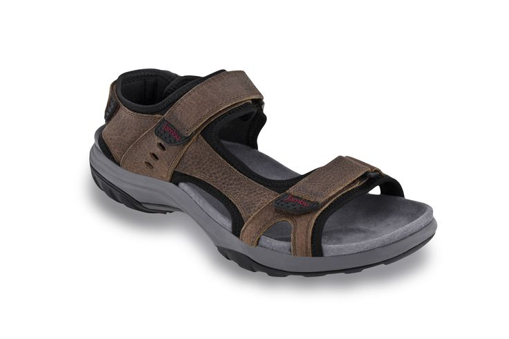 The Flint by Jambu. A comfortable men's sandal with built in arch support and adjustable straps.
