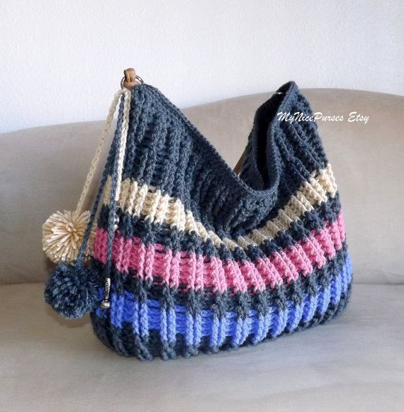 Crochet over sized striped winter hobo bag crochet by MyNicePurses, $95.00