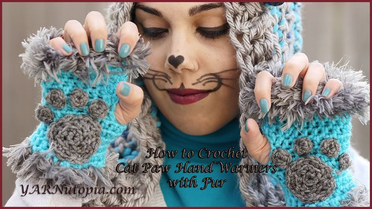 How to Crochet Cat Paw Hand Warmers with Fur - YouTube