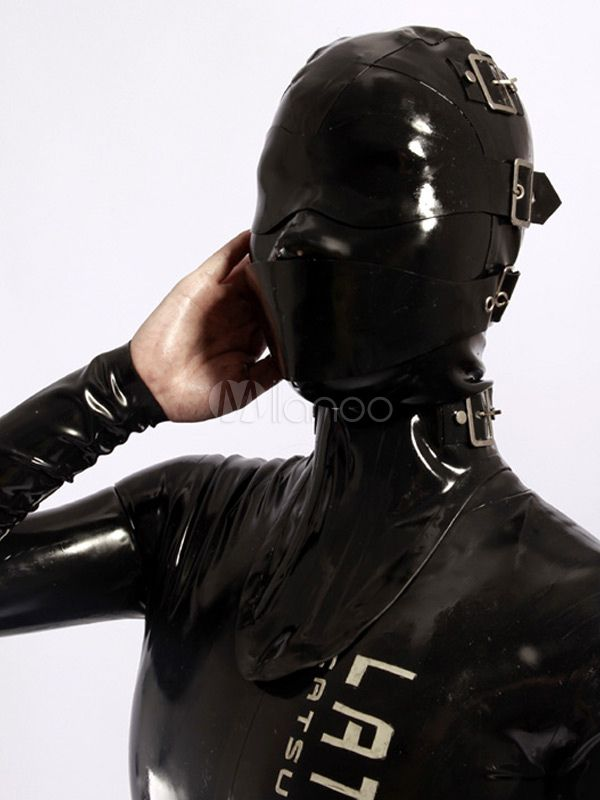Halloween Black Buckle Unisex Catsuits & Zentai Hood
