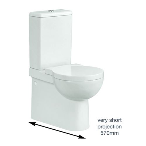 The Nano Close Coupled Short Projection WC With Soft Close Seat is a modern toilet that boasts style and charisma unlike any other toilet. The smooth white finish will simply glisten in any bathroom. The short projection of the WC Unit makes it a perfect addition to your small bathroom or en-suite, as its compact design complements the room. With plenty of contemporary style, it's perfect for cloakrooms or the smaller bathroom. Here at Bathshop321 we can offer items from the full Nano col...