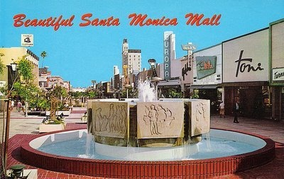 SANTA MONICA:  Santa Monica Mall - before it became 3rd Street Promenade. Remember this mall in Pee Wee's Big Adventure? And the record store was the location for Pretty in Pink - John Cryer's big Otis Redding scene.