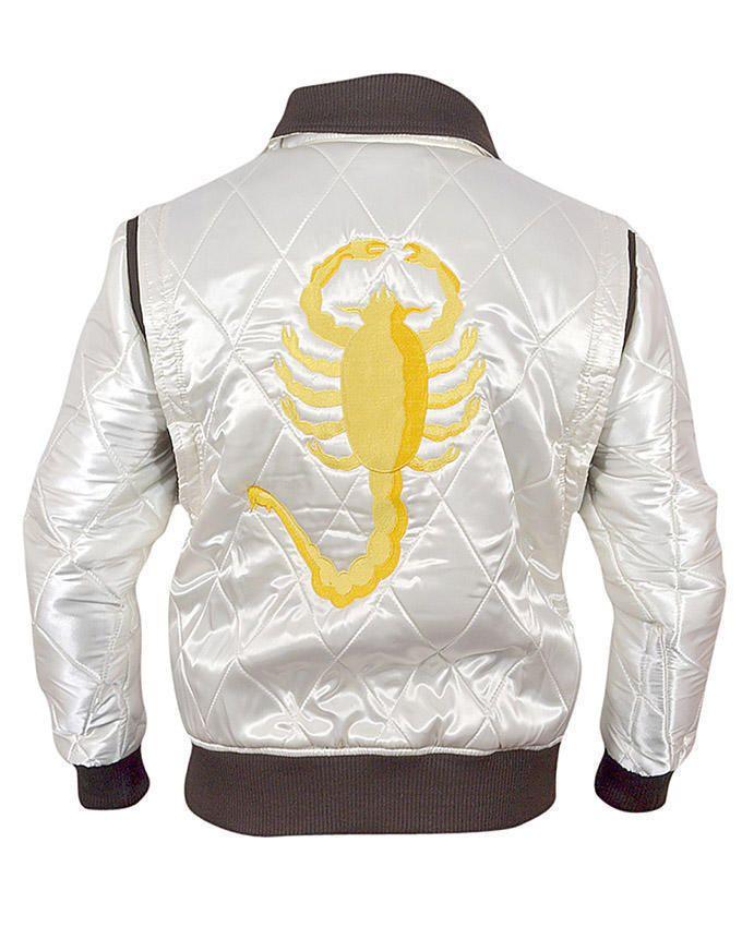 Ryan Gosling Drive Movie Golden Embroidered White Jacket - Money Back Offer.....