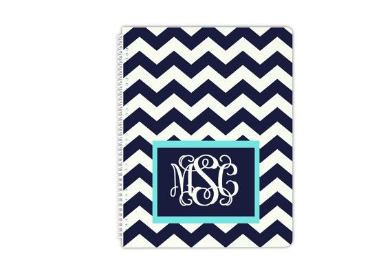 Personalized Spiral Notebook - Monogrammed School Supplies - Create Your Own - Design You School Colors and Monogram Notebook