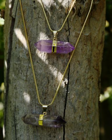 Amethyst Double Point Crystal on Gold Snake Chain – Bohemian Tapestry