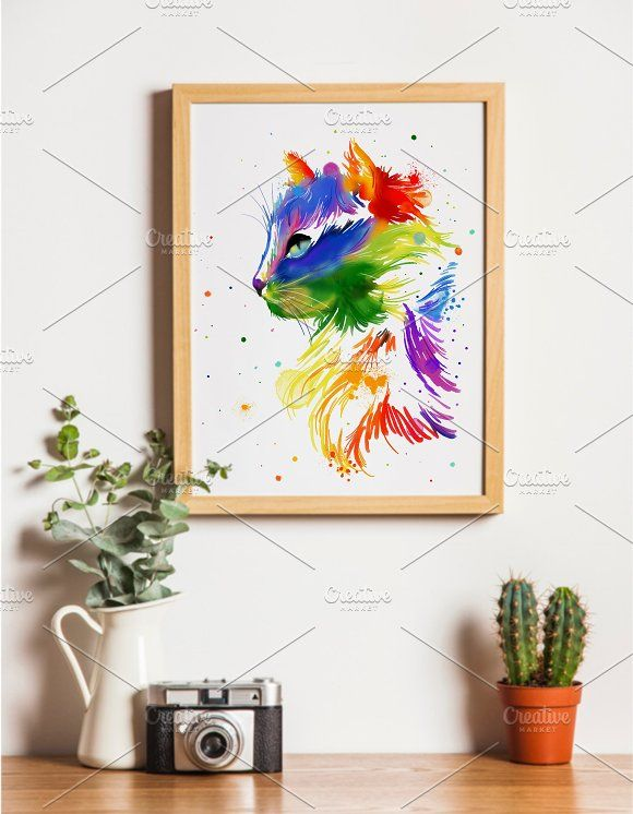 Watercolor rainbow cat by AnSuArt on @creativemarket