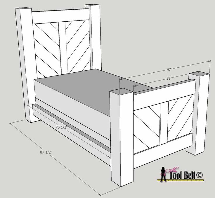 Rustic barnwood twin bed plan bed plans chevron and for Rustic bed plans