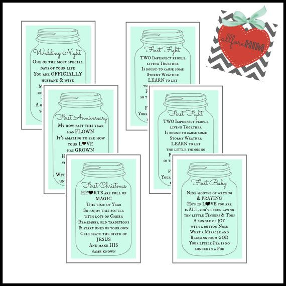 Bridal shower gift idea! Adorable mason jar gift tags with a poem on ...