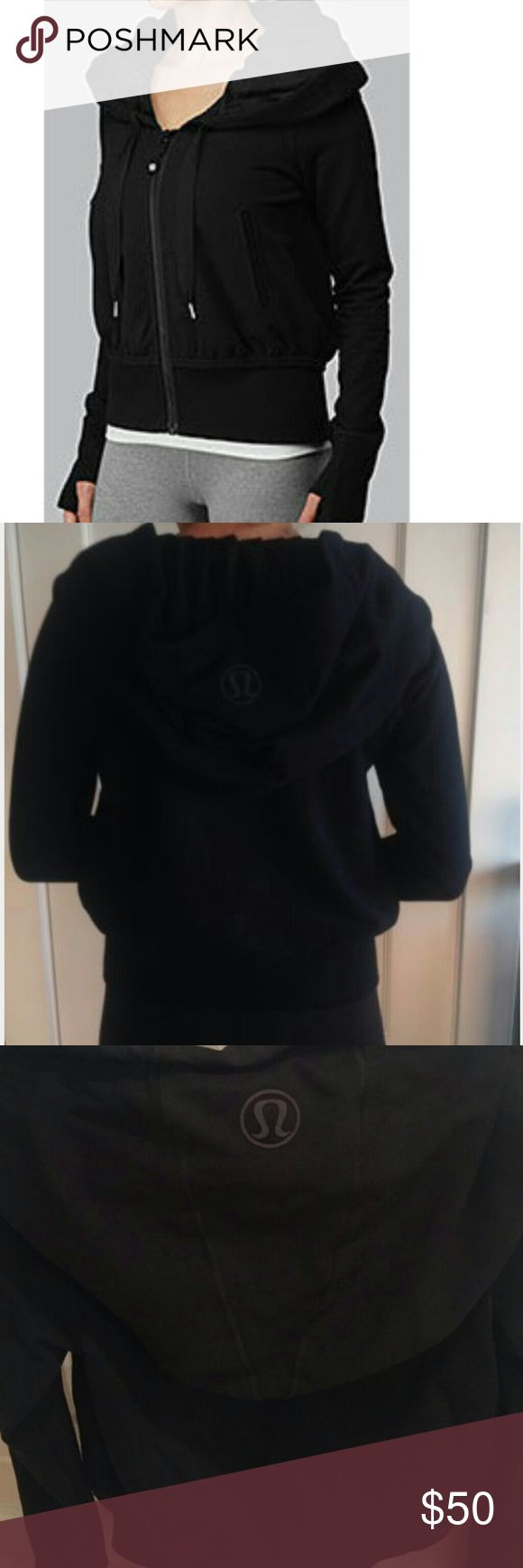 Lululemon exhale hooded jacket This jacket is awesome light enough to keep you warm and not to overheat you. Hood goes over shoulders this is the jacket tom bradys wife wears gisele. Fits like a medium size 6 its in used condition but well taken care will not regret buying lululemon athletica Jackets & Coats