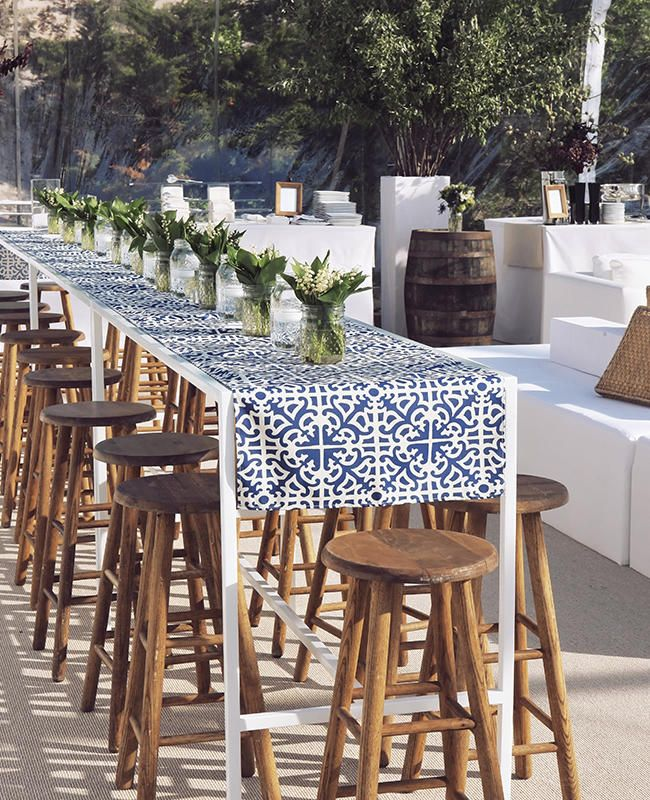 Chic Navy and White Table Runner   9 Summery Hamptons-Inspired Wedding Details   https://www.theknot.com/content/8-summery-hamptons-inspired-wedding-details