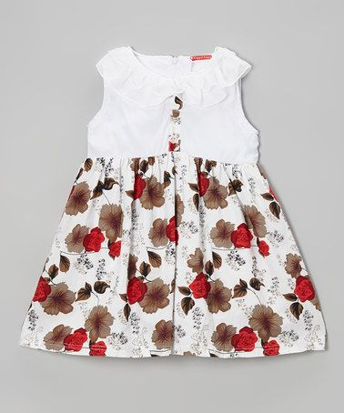 Look at this #zulilyfind! White & Brown Floral Dress - Toddler & Girls by Maggie Peggy #zulilyfinds $9.99, regular 25.00