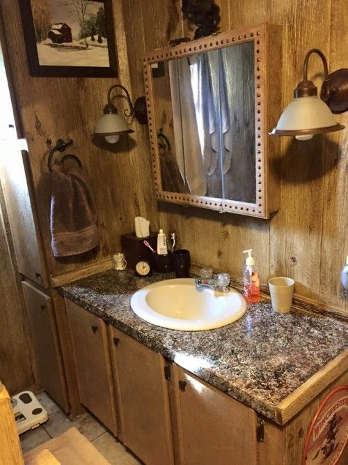 Mobile home renovation professional artist creates rustic for Country style manufactured homes