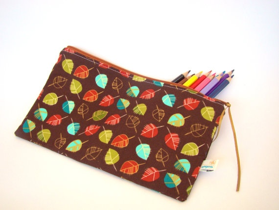 Brown Pencil Case  Rectangular Zipper Pouch  by SofiAlgarvia, €10.00