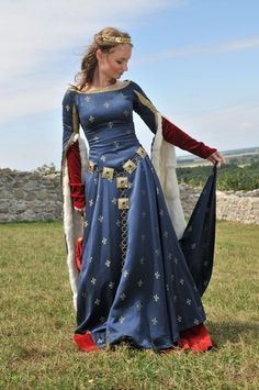 Medieval Gotic Blue Dress Historical Costume FOR Reenactment | eBay