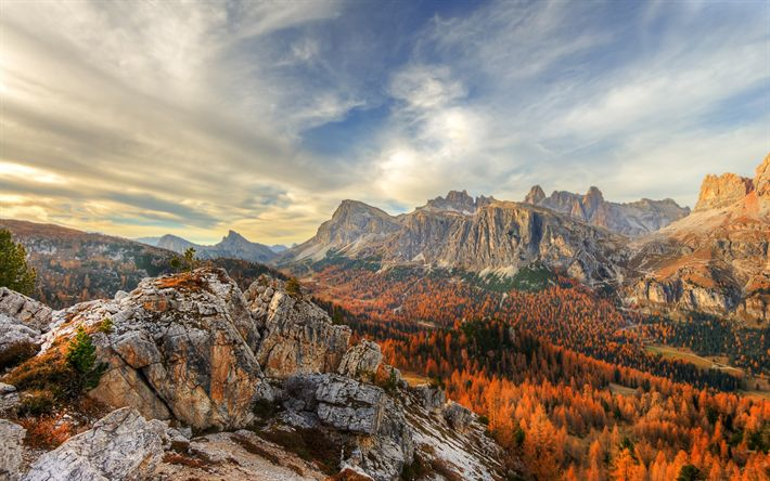 Download wallpapers Cinque Torri, autumn, mountain landscape, forest, Dolomites, Italy, Nuvolao group, San Vito di Cadore