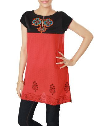 Orange-Black Casual Kurti With Motif On Neck and Embroidery on Daman