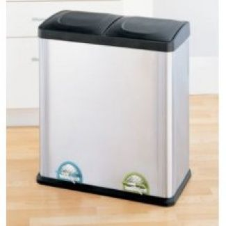 Neu Home Two Compartment Step on Recycling Bin in Stainless Steel and Black, 15.85 Gal $27.99 2 x 30 litre
