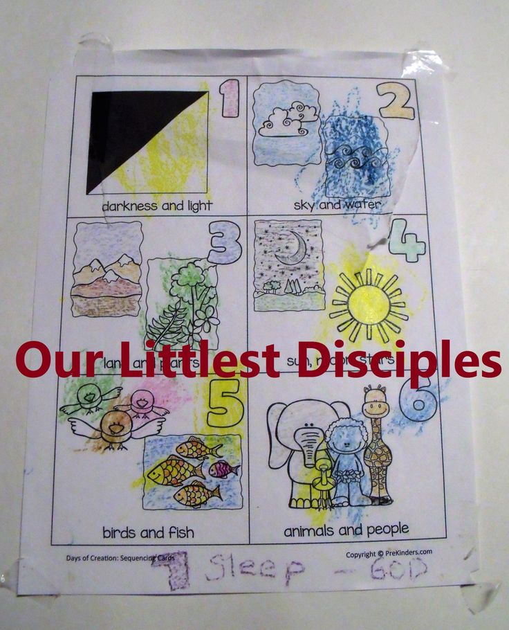 Five short lessons to teach the Bible Creation Story 7 days coloring page Memory motions Genesis 1 & 2 number art craft activities