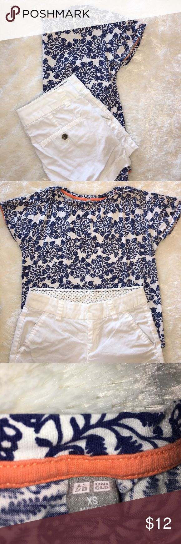 BUNDLE Uniqlo shorts and two Tops BUNDLE of 3! Includes a Uniqlo blue and a pink flowered soft 100% Cotton top Size XS, with crisp white Uniqlo size 0 shorts. All three items have been washed and worn only once! 🌺 Uniqlo Tops