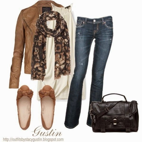 Brown leather jacket white blouse floral scarf denim pants with shoes and hand bag
