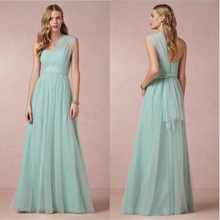 Mint Mist One Shoulder Long Bridesmaid Dress Soft Tulle Dresses For Bridesmaid Girl Multi Wearing Way Floor Length Formal Bridesmaid Dresses Periwinkle Bridesmaid Dresses Plus Size Bridesmaid Dresses With Sleeves From Graceful_ladies, $98.49| Dhgate.Com