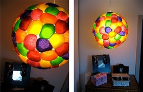 Lamp made of muffinpaprs