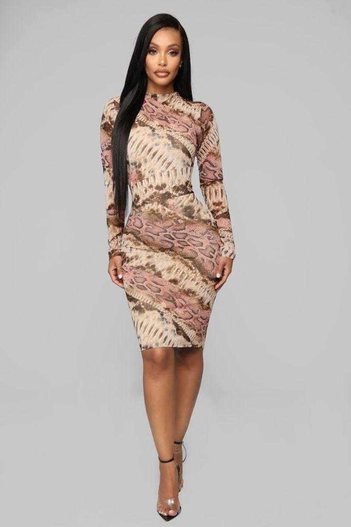 7e0fc0d33be7a Fall In Love Snake Dress - Brown Pink in 2019