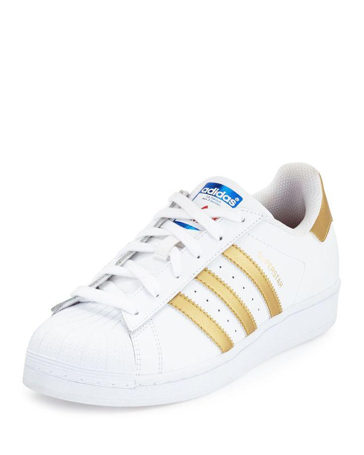 adidas Superstar Original Fashion Sneaker, White/Gold (big kids size 7 or women  size