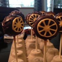 Tire cake pops I made for my grandson's birthday to go with his Cars theme