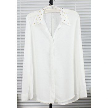 Graceful Invisible Button Design Studded Shirt Collar Long Sleeves Women's White Chiffon Shirt, WHITE, ONE SIZE in Blouses | DressLily.com