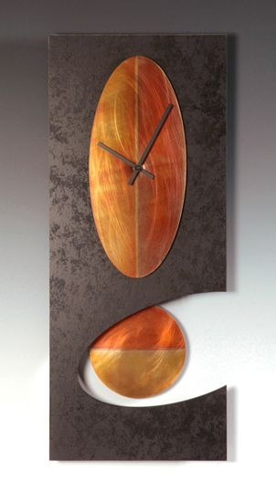 """Black Oval Pendulum Clock"" Metal & Wood Clock by Leonie Lacouette on Artful Home"