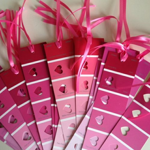 Love this fun Valentine bookmark idea using paint chips, ribbon and heart punches!