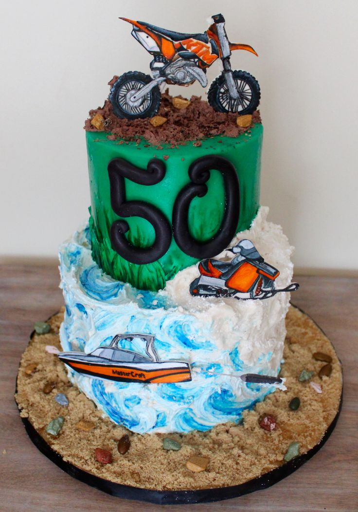 Motorcross skidoo and wakeboarding boating themed 50th birthday cake