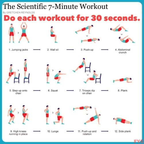 The Scientific 7 Minute Workout - CHAOS loves this workout!  You will be sweating in less than 7 minutes!