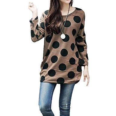 polka dot de punto de las mujeres camiseta larga desgarbado – MXN $ 95.42