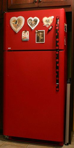 Red Refrigerator painted and sealed by Linda Cordy