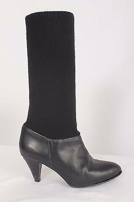 Vintage Nine West Size 7.5M Black Leather Knit Mid-Calf Boots 733 B1016