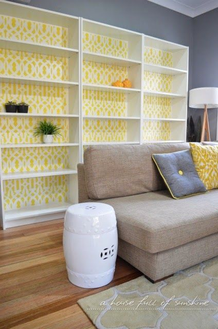 Stencilled bookcase, yellow and grey colour scheme - Ikea Billy bookcase hack | a house full of sunshine