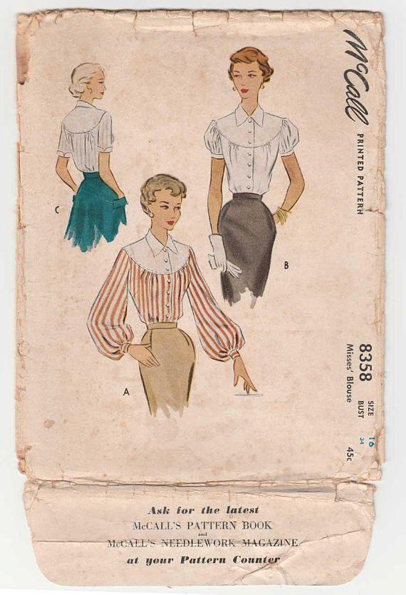 Vintage 1950's McCall 8358 Women's Blouse Sewing Pattern Misses Size 16 Bust 34 UNCUT