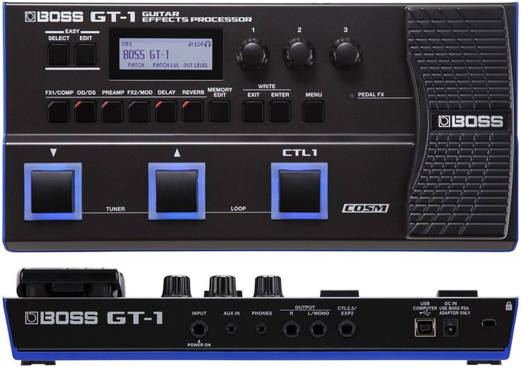 Boss GT-1 Guitar Multi-Effects Processor. Effects include Delay, Reverb, Modulation, Wah, Fuzz, Distortion and more including a 32-second phrase looper.