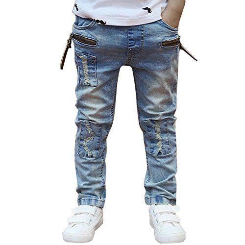 DOMYBEST Boys Jeans Pantalons Enfants Denim Jeans Cowboy Designers Jeans (140)